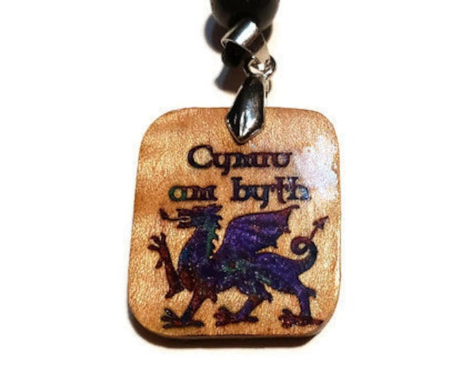 Cymru Am Byth (Wales Forever) Welsh Dragon Charm • Hand Crafted Celtic Wood Pendant • Resin Inlaid Rune • Adjustable Necklace Men & Women