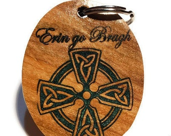 Celtic Cross Keychain, Irish Key Ring, Erin Go Bragh Luggage Tag, Ireland Forever, Hand Crafted Engraved Cherry Inlaid Emerald Green Resin