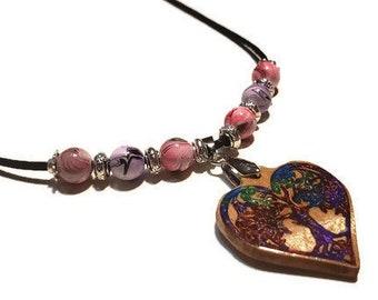 Tree Of Life Charm Celtic Necklace • Girlfriend Necklace Heart Choker • Wood Epoxy Jewelry Irish Pendant • Irish Engagement Love Necklace