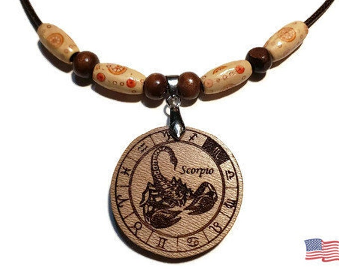 Scorpio Sign Jewelry • Astrological Wooden Rune Symbol • Handmade Zodiac Necklace Charm • Personalized Pendant Engraving + Bead Options