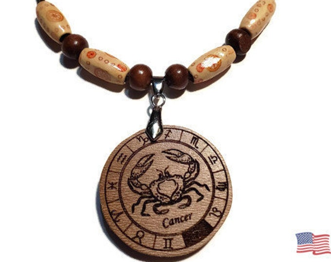 Cancer Zodiac Jewelry • Astrology Wooden Rune Symbol • Handmade Star Sign Necklace Charm • Personalized Pendant Engraving + Bead Options