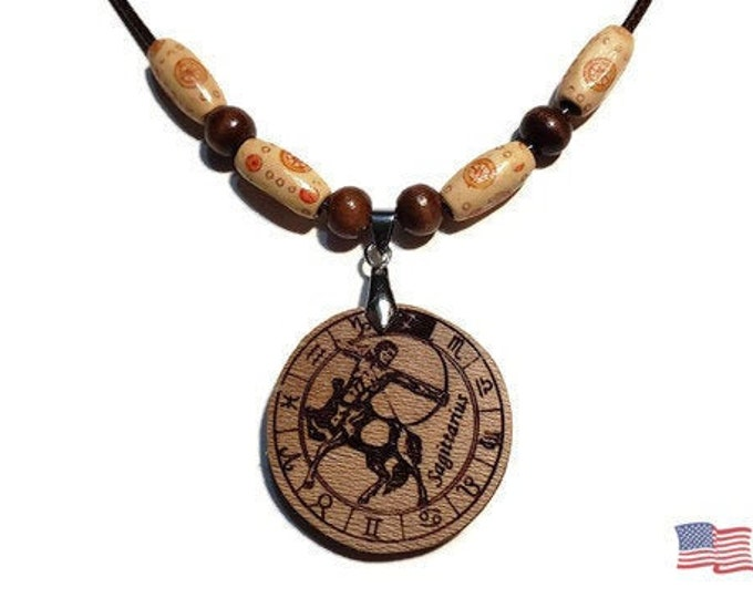 Sagittarius Jewelry • Astrology Wooden Rune Symbol • Handmade Zodiac Sign Necklace Charm • Personalized Pendant Engraving + Bead Options