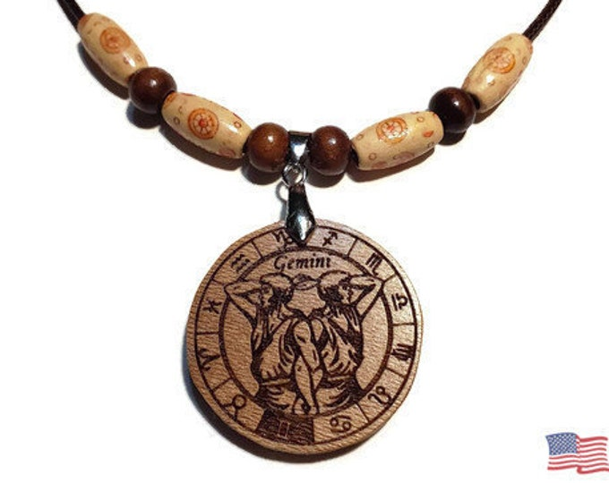 Gemini Jewelry • Astrology Wooden Rune Symbol • Handmade Zodiac Sign Necklace Charm • Personalized Pendant Engraving + Bead Options