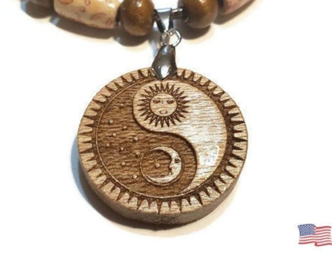 Sun & Moon Ying Yang Necklace • Custom Wooden Yin and Yang Charm • Handcrafted Balance Pendant • Many Wood Bead Options • Engraved Taijitu