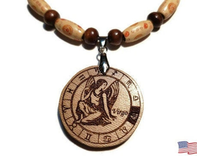 Virgo Sign Jewelry • Astrological Wooden Rune Symbol • Handmade Zodiac Necklace Charm • Personalized Pendant Engraving + Bead Options