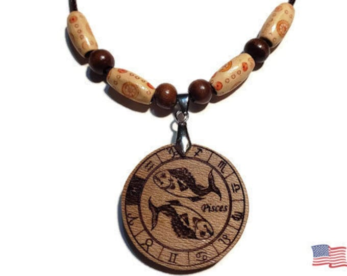 Pisces Jewelry • Astrology Wooden Rune Symbol • Handmade Zodiac Sign Necklace Charm • Personalized Pendant Engraving + Bead Options