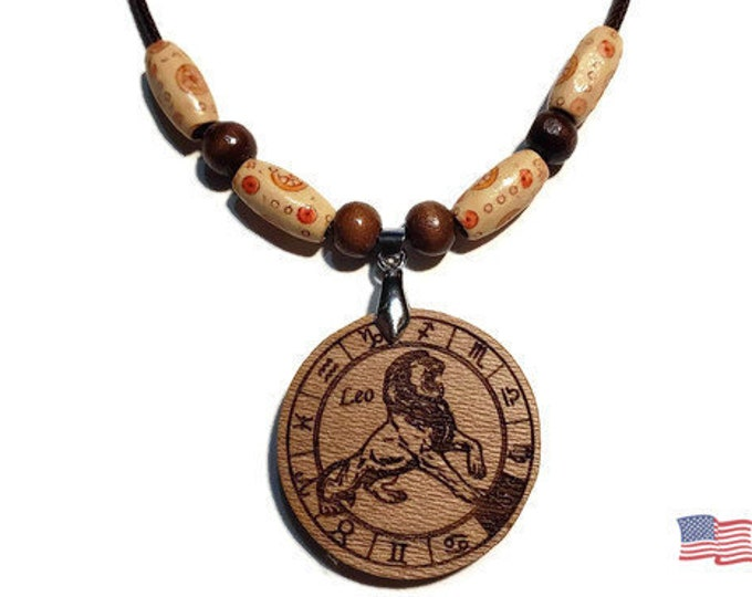 Leo Zodiac Sign Jewelry • Astrology Wooden Rune Symbol • Handmade Necklace Charm • Personalized Pendant Engraving + Bead Options