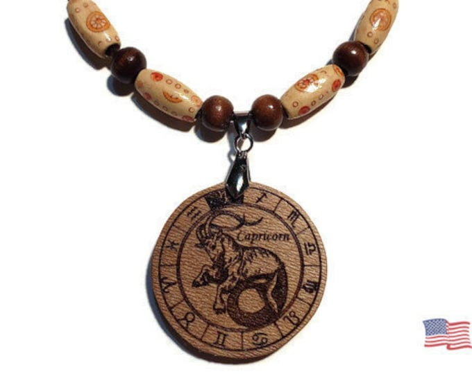Capricorn Jewelry • Astrology Wooden Rune Symbol • Handmade Zodiac Sign Necklace Charm • Personalized Pendant Engraving + Bead Options