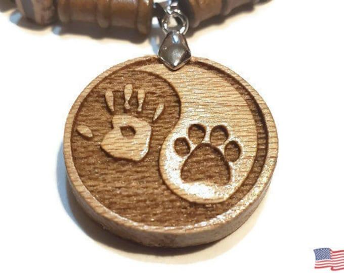 Paw Print Dog Lovers Necklace • Custom Wooden Canine Yin & Yang Charm • Handmade Balance Pendant • Wood Bead Options • Personalize Taijitu