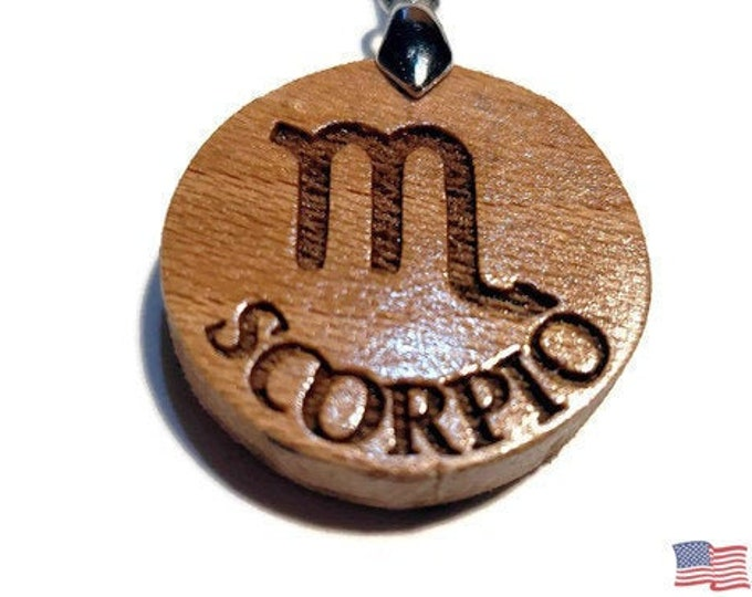 Scorpio Sign Necklace • Astrological Zodiac Symbol Pendant • Handmade Jewelry Wooden Rune Charm • Personalized Engraving + Bead Options
