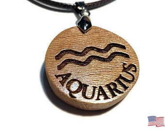 Aquarius Zodiac Charm • Astrology Sign Pendant Necklace • Handmade Jewelry Wooden Rune Charm • Personalized Engraving + Bead Options