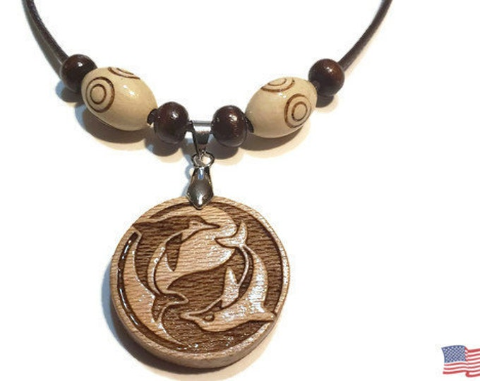 Ying Yang Dolphin Necklace • Custom Wooden Dolphin Yin & Yang Charm • Handcrafted Balance Pendant • Multiple Wood Bead Options • Personalize