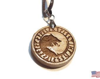 Ying Yang Viking Wolf Necklace • Custom Wooden Nordic Wolves Rune Yin & Yang Charm • Handcrafted Balance Pendant • Many Wood Bead Options