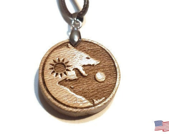 Ying Yang Wolf Necklace • Custom Wooden Wolves Yin & Yang Charm • Handcrafted Balance Pendant • Many Wood Bead Options • Sun and Moon Rune