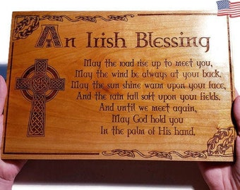 """Irish Blessing Sign • Housewarming Gift or Wedding Gift • Celtic Cross """"May The Road Rise Up"""" Poem • Large Engraved Cherry Wood Home Sign"""