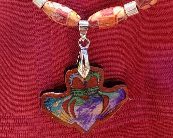 Irish Claddagh Hand Crafted Inlaid Necklace • Celtic Pendant Charm • Symbol of Love • Unique Women's Jewelry African Padauk Beaded Necklace