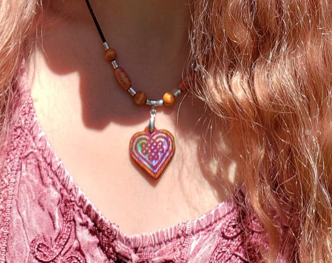 Celtic Heart Knot Pendant • Hand Crafted Inlaid Exotic Padauk Wood Charm • Irish Jewelry Gifts For Women • Adjustable Beaded Necklace