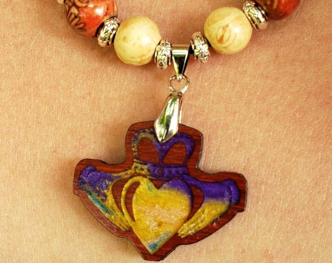 Celtic Irish Claddagh • Hand Crafted Resin Necklace Pendant • Padauk Wood Celtic Symbol of Love Charm • Women's Beaded Necklace Jewelry