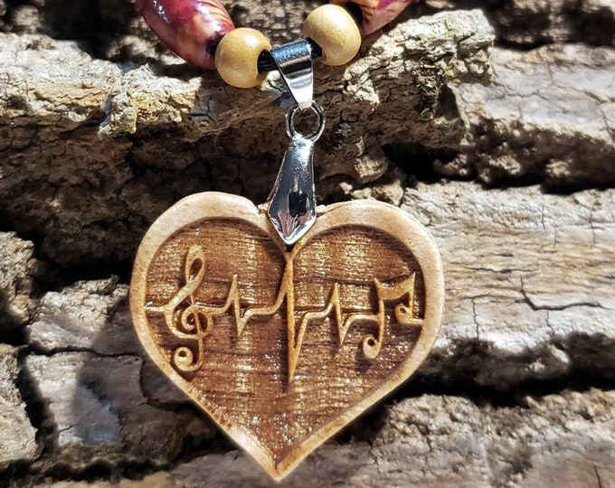 Heartbeat Necklace • Handcrafted Music Lovers Wood Charm • Heart-Shaped Musical Note Pendant • Personalized Jewelry Gifts + Bead Options