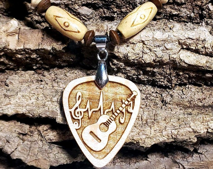 Guitar Pick Necklace Acoustic Guitar Charm • Music Lovers Pendant • Wooden Pick Necklace • Custom Jewelry for Musician • Band Member Gift