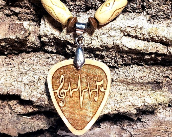 Music Lovers Necklace • Handcrafted Guitar Pick Curly Maple Wood Charm • Musical Note Heartbeat Pendant • Personalized Musician Jewelry Gift