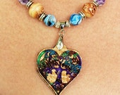 Celtic Irish Tree Of Life, Heart Shape, Hand Crafted Curly Maple Necklace, Resin Inlay, Personalization Available