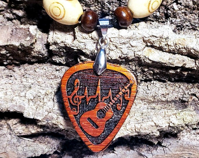 Acoustic Guitar Necklace • Music Lovers Guitar Player Pendant Necklace • Custom Wooden Guitar  Pick Charm • Band Gift For Musician