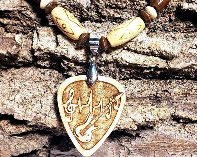 Guitar Pick Necklace for Electric Guitar Player • Music Lover Pendant • Engraved Wood Guitar Charm • Musician Jewelry • Guitar Player Gift
