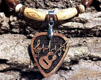 Guitar Player Necklace • Acoustic Guitar Pick Charm • Music Lovers Pendant • Walnut Wood Pick Charm • Custom Musician Jewelry Gift