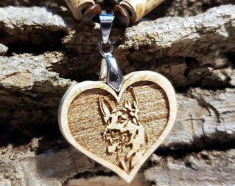 German Shepherd Necklace • Heart-Shaped Shepherd Pendant • Handcrafted Wooden Pet Charm • Custom Jewelry for Dog Lovers •  Dog Owner Gift