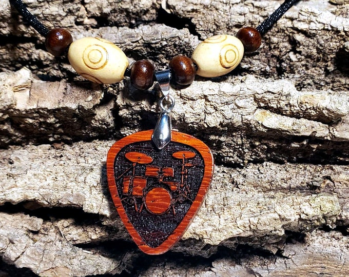 Drummer Charm Necklace • Music Lovers Charm Necklace • Exotic Wood Drum Set Pendant  • Custom Jewelry for Rhythm Musician • Band Member Gift
