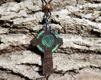 Men's Celtic Cross Necklace • Large Wooden Cross Charm • Engraved Black Walnut Wood & Green Resin Pendant •  Custom Jewelry Personalization!