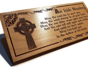 Celtic Cross Irish Blessing Sign • May The Road Rise To Meet You Poem • Engraved Cherry Wood Wall Plaques Are A Great Housewarming Gift Idea