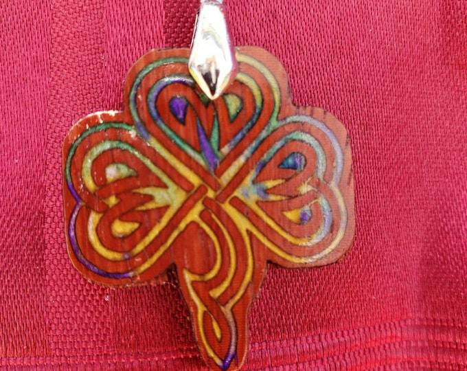 Celtic Knot Clover Wood & Resin Necklace • Irish Shamrock Beaded Necklace Gift For Men Or Women • Inlaid Exotic Padauk Wood Lucky Charm