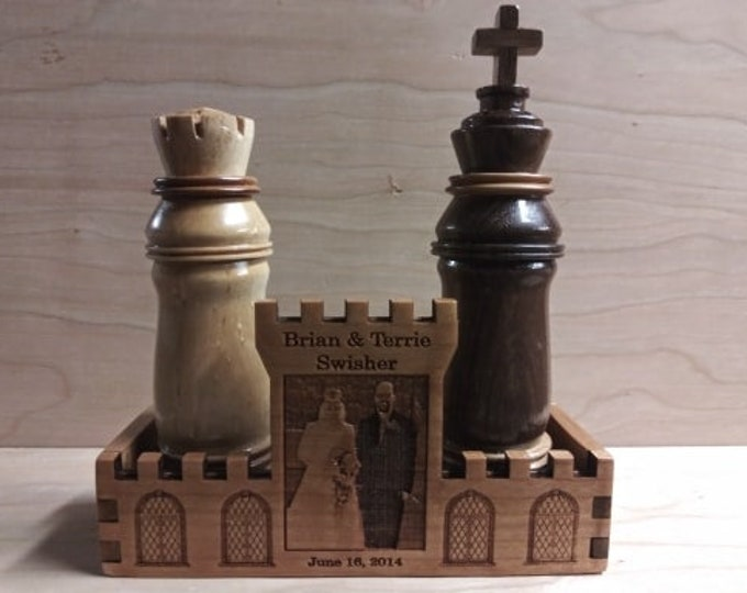 """Handcrafted """"King and Queen"""" Salt and Pepper Shakers With Hardwood Cherry Display Stand Engraved and Personalized. Perfect Wedding Gift!"""
