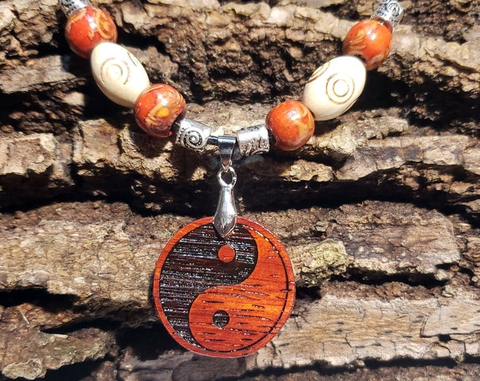 Yin and Yang Necklace • Personalized Taijitu Custom Wooden Ying Yang Charm • Handcrafted Balance Pendant • Multiple Wood Bead Options