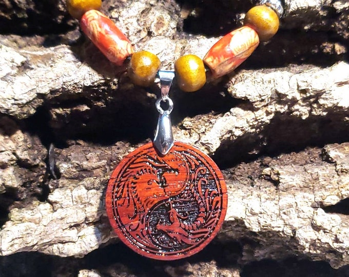 Yin and Yang Necklace • Red Dragon Jewelry • Custom Handcrafted Ying Yang Wooden Charm • Taijitu Balance Pendant • Free Bead Options