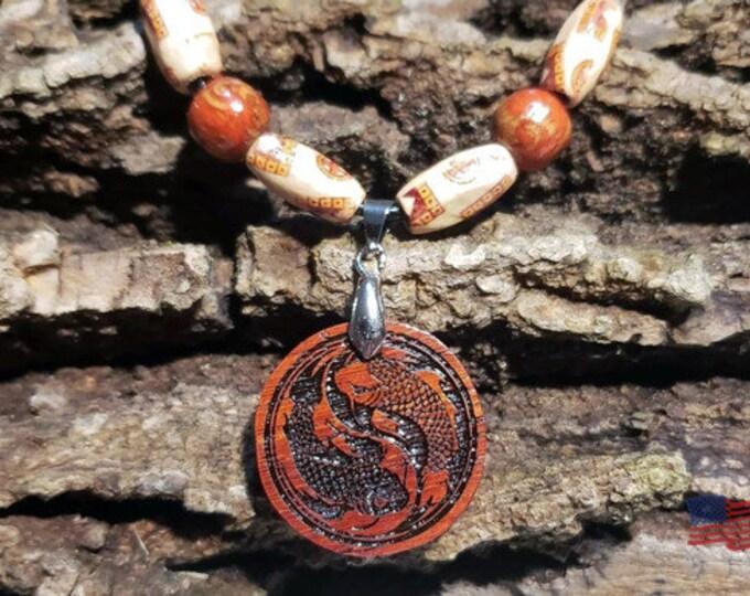 Taijitu Balance Pendant • Yin and Yang Necklace • Koi Fish Jewelry • Custom Handcrafted Ying Yang Wooden Charm • Free Bead Options