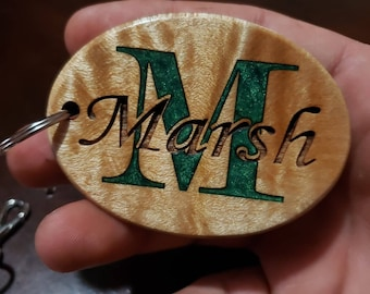 Monogrammed Keychain / Luggage Tag, Inlaid and Engraved into Curly Maple Hardwood. Personalized & Customizable! Initial and Family Name