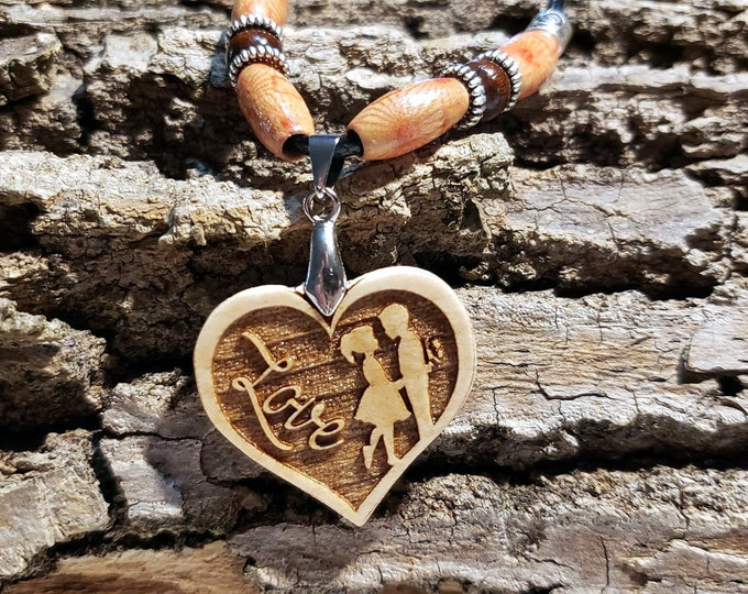 True Love Pendant • Handcrafted Wooden Charm Lovers Necklace • Heart-Shaped Necklace • Custom Engraved Romantic Jewelry Anniversary Gift