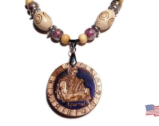 Aquarius Zodiac Necklace • Handmade Resin Wood Aquarius Star Sign Charm • Personalized January or February Pendant Jewelry + Bead Options