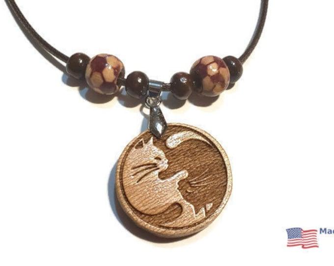 Ying Yang Cat Lovers Necklace • Custom Wooden Feline Yin & Yang Charm • Handmade Balance Pendant • Wood Bead Options • Personalize Taijitu