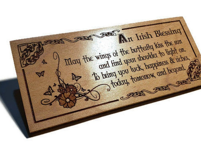 Irish Blessing Plaque • Celtic Wall Art Decor Wings Of The Butterfly Poem • Flowers & Butterflies Engraved Wood Sign, Housewarming Gift Idea
