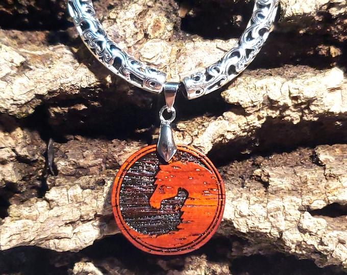 Engraved Horse Necklace • Exotic Wood Yin & Yang Horse Charm • Yin Yang Necklace Gift For Horse Lover • Custom Personalized Horse Jewelry