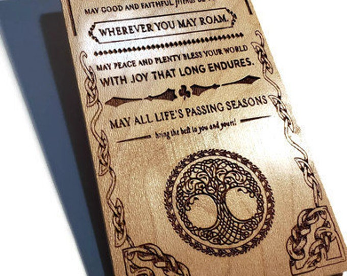 Irish Blessing Sign Engraved Tree Of Life • May Love & Laughter Light Your Days Poem • Celtic Wall Decor Housewarming Or Realtor Gift Ideas