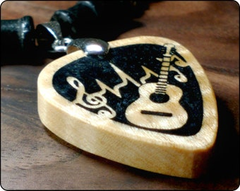 Acoustic Guitar Necklace, Mens Rock & Roll Music Pendant, Black Resin Wood Jewelry