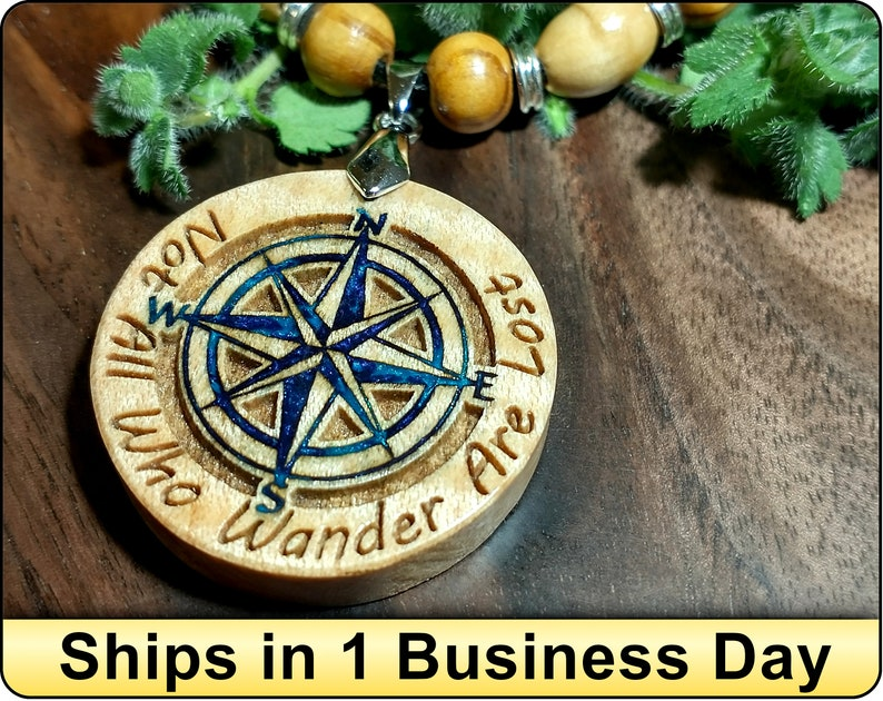 Wanderlust Jewelry Travel Gift Not All Who Wander Wooden Resin Inlaid Charm Compass Rose Adventure Awaits Wander Necklace