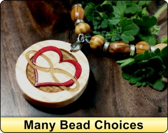 Infinity Heart Gift For Wife Heart Charm Pendant Necklace Gift for Girlfriend Inlaid Wood Necklace Gift For Her
