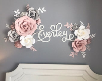 Paper Flowers Wall Decor, Blush, White and Grey Paper Flowers, Nursery Wall Flowers, Paper Flower Wall Arrangement, Wall Flower Arrangement