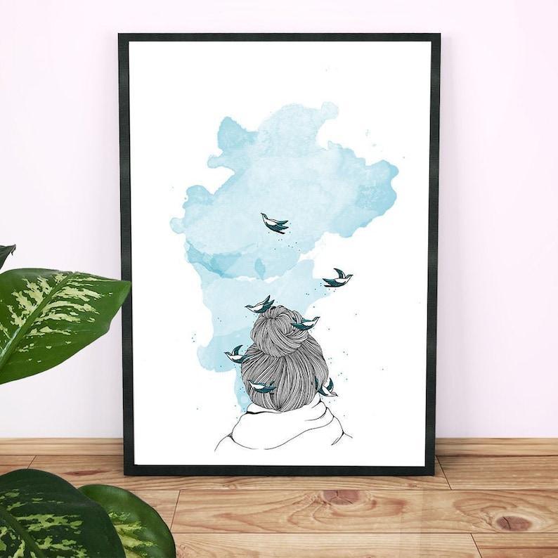 Dream. Illustration of women's backs with birds tangled in image 0